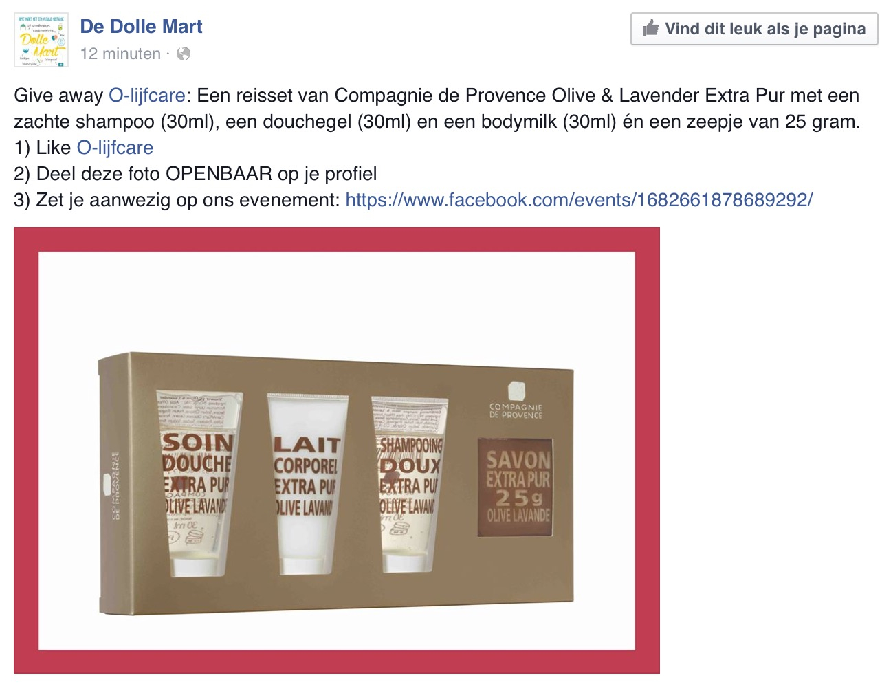 Olijfcare Give Away Actie Dolle Mart