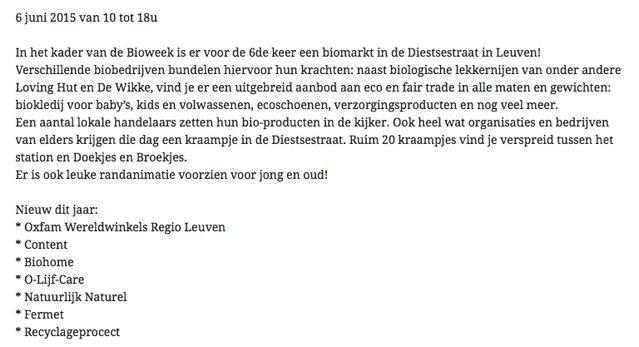 Olijfcare Biomarkt Leuven
