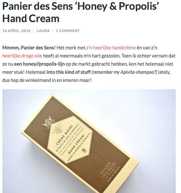 Review Handcreme Honing Panier des Sens Essential Honesty