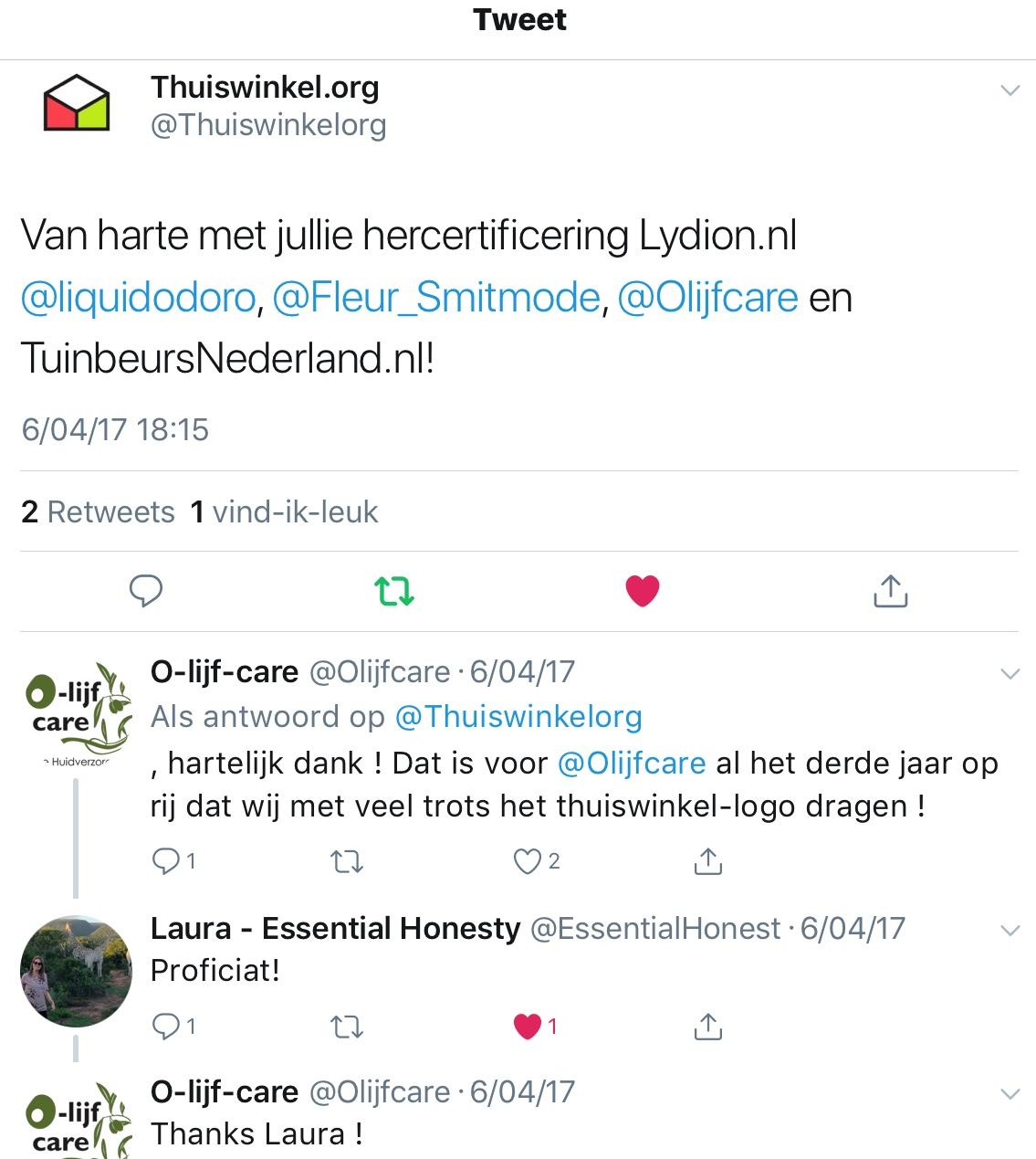Tweet Thuiswinkelorg Certificering Olijfcare