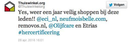 Olijfcare Hercertificering twitter Thuiswinkelorganisatie